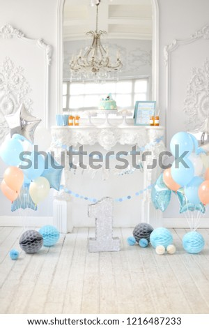 One Year Birthday Decorations Balloons Blue And White Colors A Lot Of