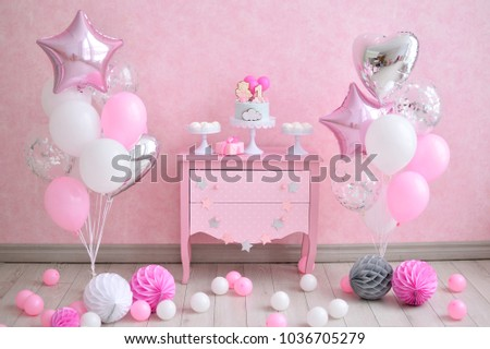 One Year Birthday Decorations For Beautiful Girl Girls Style A Lot Of Balloons Pink