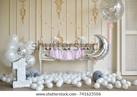 One Year Birthday Decorations Ideas A Lot Of Balloons White Color