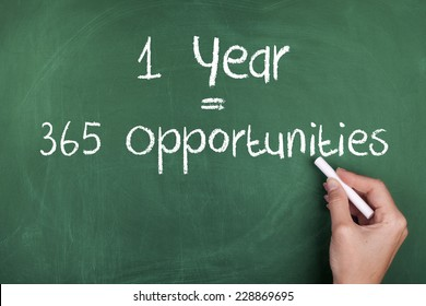 One Year Equals 365 Opportunities / Inspirational Motivational Business Quote Background
