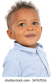 One Year Old Adorable African American Boy Portrait on Gray Background