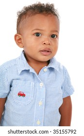 One Year Old Adorable African American Boy Portrait on White Background