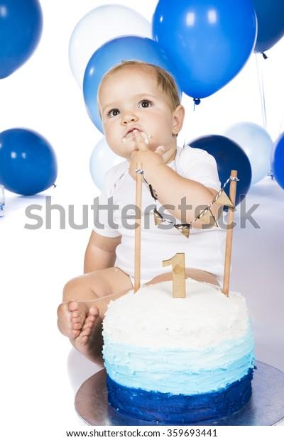 Fine One Year Old Baby Boy Smashing Stock Photo Edit Now 359693441 Funny Birthday Cards Online Aeocydamsfinfo