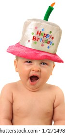 One Year Old Baby Girl With Happy Birthday Hat