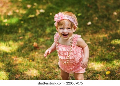 5366abacc One Year Old Girl Playing Outside Stock Photo (Edit Now) 220537132 ...