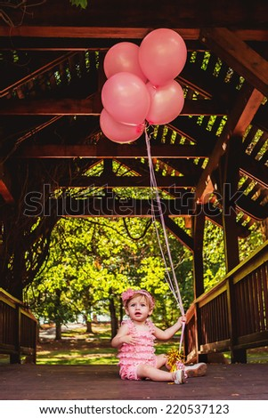 22dd98fac One Year Old Girl Playing Outside Stock Photo (Edit Now) 220537123 ...