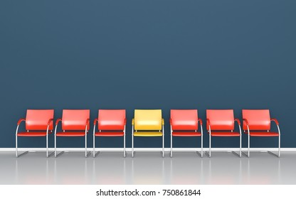 One yellow chair between red chairs in the waiting room 3D render