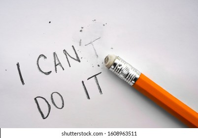one yellow Pencil eraser with eraser. Replace can. I cant do it - inscrption. motivation idea.