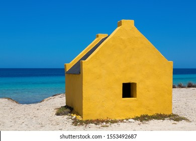 One yellow slave house at the beach of Bonaire