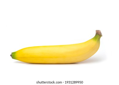 One yellow tasty banana on a white background