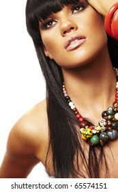 one young beutiful brunette with long necklace