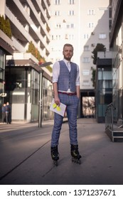 one young businessman, wearing suit and inline skates at same time, eccentric style, fashionable and trendy. Full length portrait in business district.