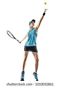 une jeune femme de tennis caucasienne isolée en silhouette sur fond blanc