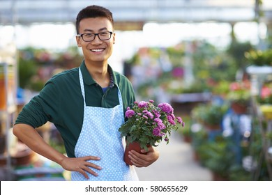 One Young Happy Asian Male Florist Working in Shop