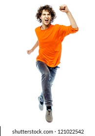 one young man caucasian running  screamming happy front view  in studio white background