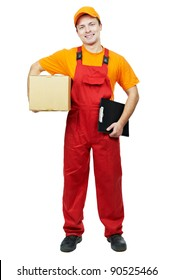 One young smiling delivery man courier with parcel cardboard box and clipboard isolated on white