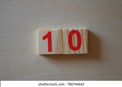 one and zero lay as ten number wood block