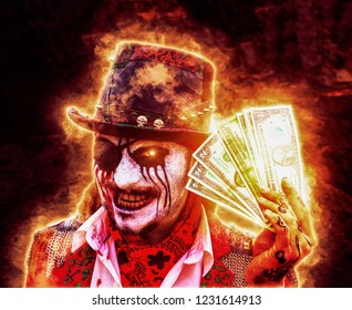 One-eyed zombie pirate with drained eye and a bandage to keep money from hell, all in flame of fire, burning eyes. dirty money concept from hell, deal with the devil