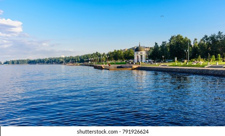 Onega quay of the city of Petrozavodsk. Karelia, Russia.