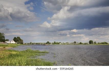 Onega river in Kargopol. Russia