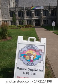 Oneonta, NY / USA - August 4, 2019: Sign for upstate New York soup kitchen called Saturday's Bread