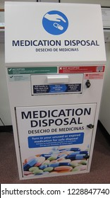 Oneonta, NY / USA - November 12, 2018: A medication disposal box in a pharmacy allows safe disposal of prescription medicines to help combat drug abuse