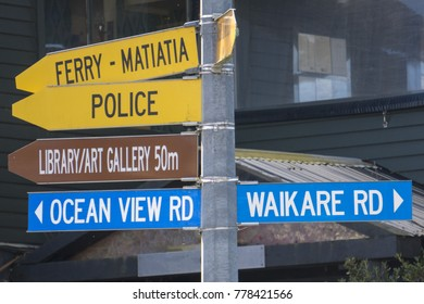 Oneroa Onetangi road sign Waiheke Island New Zealand