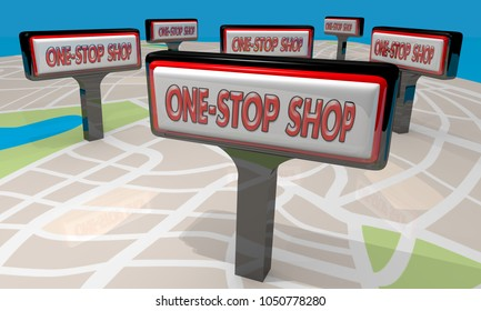 One-Stop Shop Store Signs Map Convenient Shopping 3d Illustration