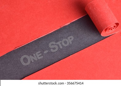 One-Stop word on blackboard and red torn paper