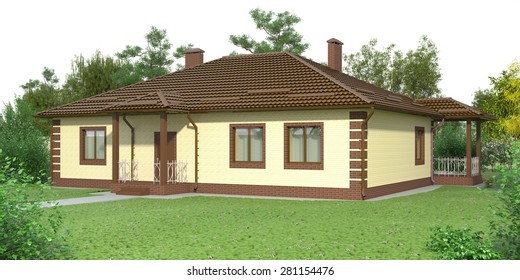One-story family brick house in the garden