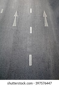 One-way signs and double middle lines on a road/One Way Road. One direction allow,