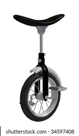 a one-wheeled unicycle driven by pedals, used in a circus