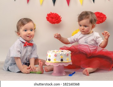 One Year Old Twins Behind Decorated First Birthday Cake Smash The