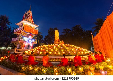 Ong Teu temple, Vientiane capital, Laos - October 24 2018. Monk are praying on the ending day of buddhist lent. and also hundreds of Lao lantern around the temple.
