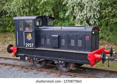 ONGAR, ESSEX, UK - APRIL 27, 2014:  Ruston Hornsby 0-4-0 Diesel shunter No. 2957 in the yard during the railway's Diesel Gala. Works No. 512572, commemorating 2957 that used to work for British Rail.