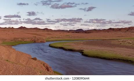 Ongi Gol river flowing through the Gobi desert.