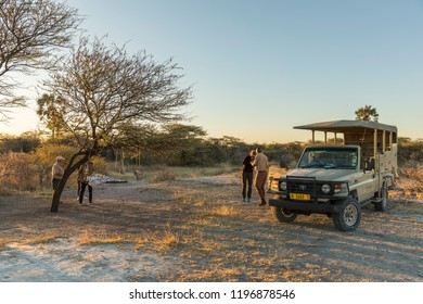 Onguma Game Reserve / Namibia - 07 24 2018: A adventurous sundowner in Africa.