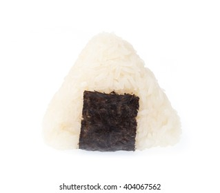 Onigiri with a dried seaweed nori isolated on white background