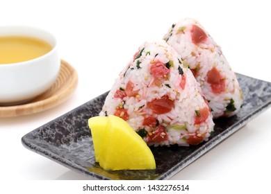 Onigiri, Japanese food, Japanese rice ball, rice triangle with umeboshi shirasu