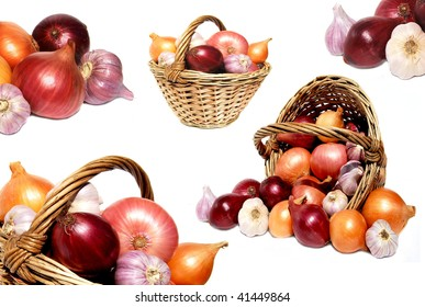 onion in basket  collage