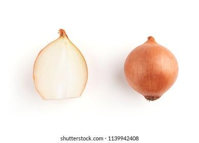 Onion bulb isolated. Onion slice on white background