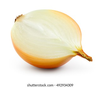 Onion bulb.Half isolated on white. With clipping path.