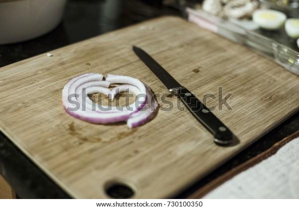 Onion Cut shaped in a heart