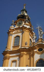 Onion dome tower and clock of Baroque abbey church of Stift  Melk, Austria