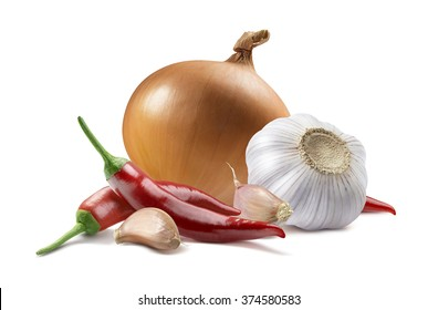 Onion garlic chili pepper isolated on white background as package design element