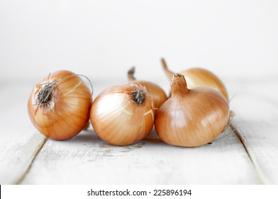 onion on wooden table.