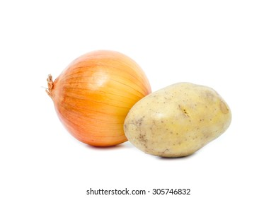 onion and potato on white background