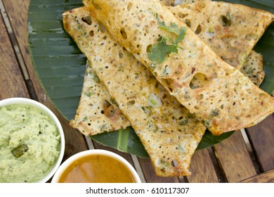 Onion rava masala dosa is a South Indian instant breakfast dish and served with chutney and sambar.