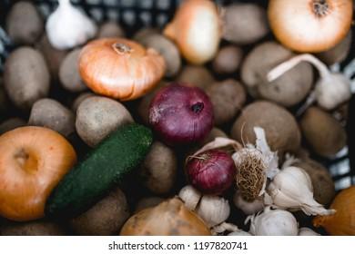 Onion, Red onion, white onion, potato, cucumber