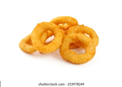 Onion rings isolated on white background